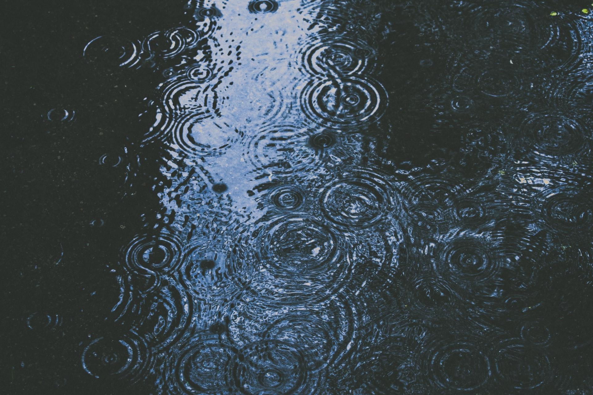 雨と水溜まり